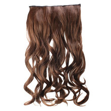 AGPtek 24inch Full head clip in Synthetic hair extensions human made hair-light brown (Light brown)