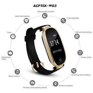 AGPTEK Lady Fitness Tracker, Fashion Smartwatch Wristband For Women,Bluetooth 4.0 /Touch Screen with Heart Rate /Sleep Monitor /Pedometer /Notifications for IOS Android Smartphones, Black