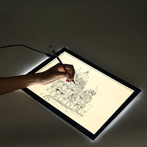 "AGPtek 17""(A4 Size) Tracing Light Box LED Artcraft Tracing Light Pad Light Box Stepless brightness control with memory function For Artists, Drawing, Sketching, Animation - Natural White"