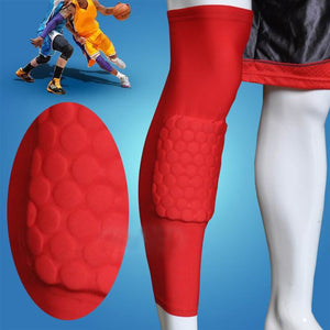 AGPtEK Strengthen Kneepad Honeycomb Pad Crashproof Antislip Basketball Leg Knee Long Sleeve Protective Pad(RED,SIZE:L)