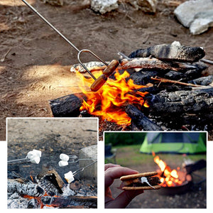 Marshmallow Roasting Sticks - ODOLAND Set of 4 + 2 Extra Sticks ¨C 32 Inch Telescoping Smores Skewers & Hot Dog Forks with Storage Bag - Best Camping Accessories for Kids over BBQ Bonfire and Campfire Cooking