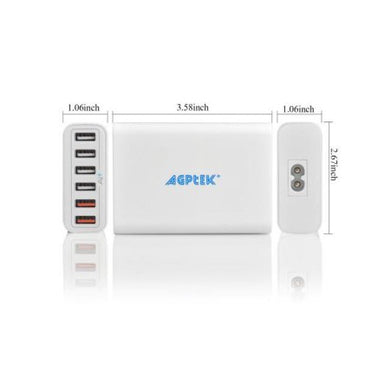 AGPTEK 6 Ports Smart USB Desktop Charging Station USB Travel Wall Charger