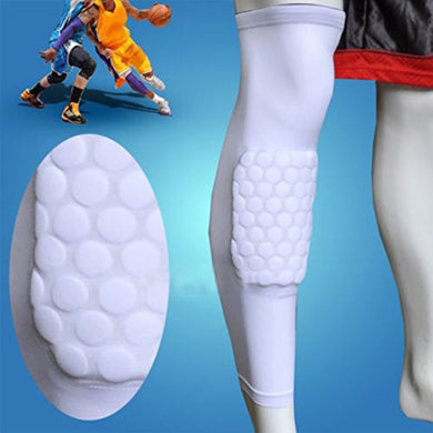 AGPtek L Size White Antislip Crashproof Basketball Cycling Baseball Leg Knee Honeycomb Pad Long Sleeve Protection Gear Protection Knee