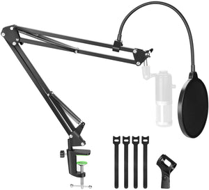 AGPtEK Microphone Arm Stand with Mic Boom Arm Stand, Metal Screw Adapter, Mic Pop Filter, Cable Ties and Microphone Holder
