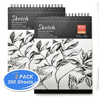 Sketch Book, AGPtEK Art Drawing Pad 9 X 12, 100 Sheets, 60lb/100g, 2 pack
