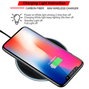 Qi Fast Wireless Charger Charging Pad For iPhone X 8 Plus & Galaxy S9 S8 Note 8