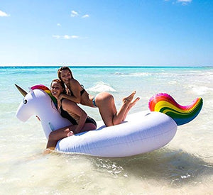 Large Jumbo Inflatable Giant Unicorn - Floatie Ride On Rideable Blow Up Summer Fun Pool Toy Lounger Floatie Raft for Kids & Adults - White,   Inches