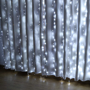 IMAGE 448 LED 6.6*19.6 feet LED Curtain Lights with 8 Light Modes and Memory Function, Waterproof Window Curtain Lights White