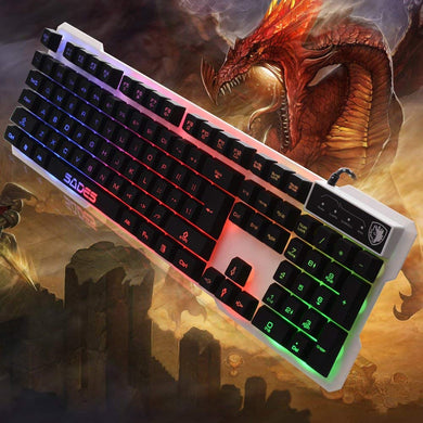 AGPtEK SADES USB PC Gaming Keyboard - LED 7 & 3 Switchable Backlight Colors, 104 Standard Keys, 19 Non-conflict Keys,13 Fn Composite Keys