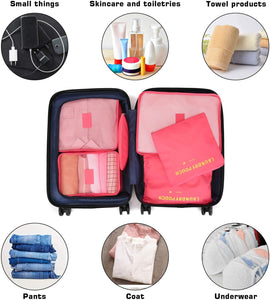 FITNATE 6 Packs Compression Packing Cubes for Travel, Tough and Durable, (watermelon red)