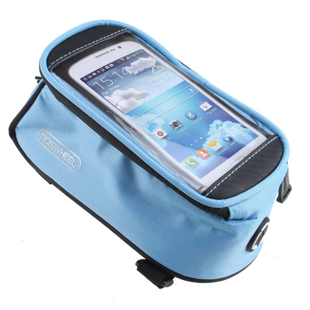 IMAGE Sky-Blue Cycling Bike Bicycle Frame Pannier Front Tube Top Tube Bag for 4.8 inch Cell Phone (Sumsung S3/iPhone 5C 5S 6/HTC Nokia Sony LG and ect)