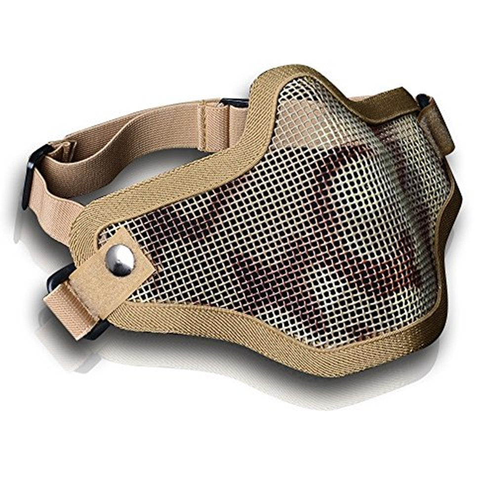 AGPTEK Tactical Strike Metal Mesh Protective Mask Military Style Lower Half Face Mask Camouflage