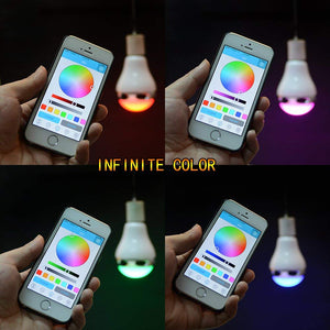 AGPtek Colorful LED Light Bulb Portable Bluetooth 4.0 A2DP Connection Audio Music Speaker For iPhone 5/5s/6/6s & Other Android 4.1 Phones