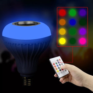 AGPtek 1 PCS 12W E27 LED RGB Bulb Light Music Playing Lamp with Wireless Bluetooth Speaker