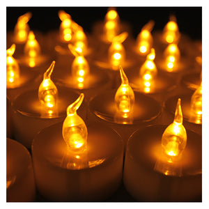 Lot 24 pcs Battery Operated LED Amber Yellow Tea Light Candle with Timer