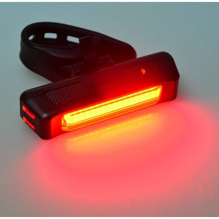 AGPtEK Waterproof USB Rechargeable 6 Modes LED Bicycle Bike Cycling Front Rear Light with Stretchable Band - Red
