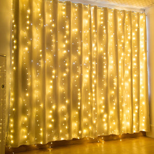 IMAGE 600 LED 9.8*19.6 feet LED Curtain Lights with 8 Light Modes and Memory Function, Waterproof Curtain Lights Warm White