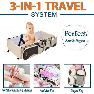 Foldable 3 In 1 Baby Diaper Tote Bag Baby Bed Changing Station Travel Carrycot