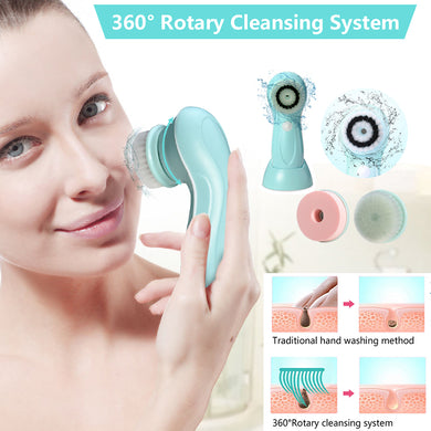 3in1 USB Rechargeable Facial Cleansing Brush Set Soft Scrubber Face Exfoliating