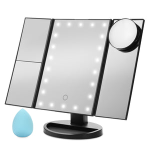 Standing Make Up Mirror Vanity USB 21 LED Light 10X 3X 2X 1X Magnification Black