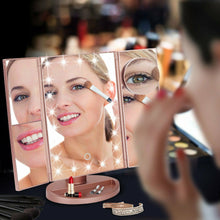 Tri-fold Vanity Makeup LED Mirror USB Touch Screen 10X Magnifing Mirror Tabletop