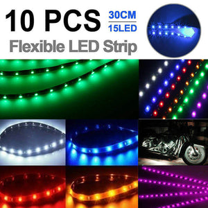 "10pcs 12V Flexible LED Strip Light 12"" 15SMD Waterproof For Car Boat Motor Truck"