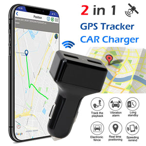 Dual USB Car Charge GPS Tracker GSM SIM Realtime GPRS Vehicle Tracking Security