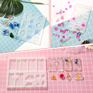 155pcs DIY Silicone Casting Molds Tool Jewelry Making Mould Set Glitter Flower
