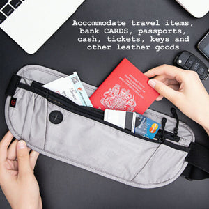 FITNATE Gray Travel Money Wallet Belt Pouch Blocking Hidden Passport Holder Bag