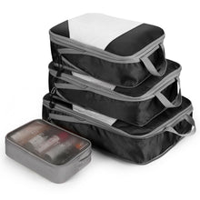 4PCS Black Travel Suitcase Storage Bag Set Luggage Organizer Bags Clothes Packing Cube