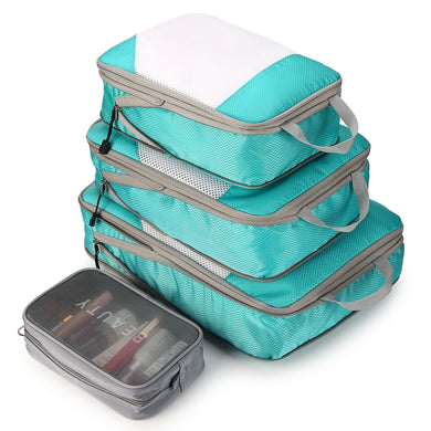 4PCS Blue Travel Suitcase Storage Bag Set Luggage Organizer Bags Clothes Packing Cube