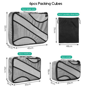 6pack Red Travel Suitcase Storage Bag Luggage Liner Organizer Clothes Packing Cube