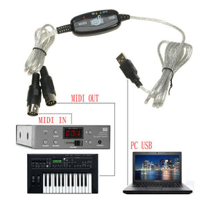 Keyboard to PC Adapter USB IN-OUT MIDI Interface Music Recording Converter