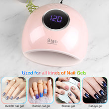 Pink FINATE 72W UV LED Gel Nail Lamp with 4 Timers Auto Sensor Quick Dry Manicure Set
