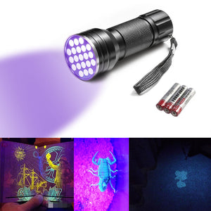 12LED UV Flashlight Handheld Blacklight Stain, Pet Urine & Pest Scorpion Detector Torch Money Detector Light