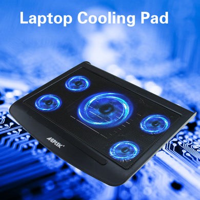 Portable 5 Fans Cooling Pad LED Light Radiator Coolpad Stand Laptop PC Notebook
