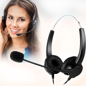 Call Center Noise Cancelling Corded Binaural Hands-free Headset Headphone With Microphone