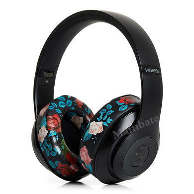 For Beats by Dr Dre Studio 2.0 3.0 Wired Earphone Black Flower Replacement Ear Pads Cushion
