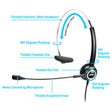 Noise Canceling Headset Convertible RJ9 Earphone with Microphone Adaptor