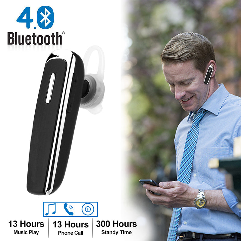 Bluetooth Wireless Trucker Headset Earpiece Hands-Free Mic Noise Cancellation