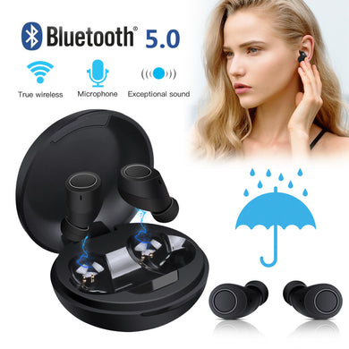 Bluetooth 5.0 Wireless Headset Deep Bass Stereo Earbuds LCD Power Display