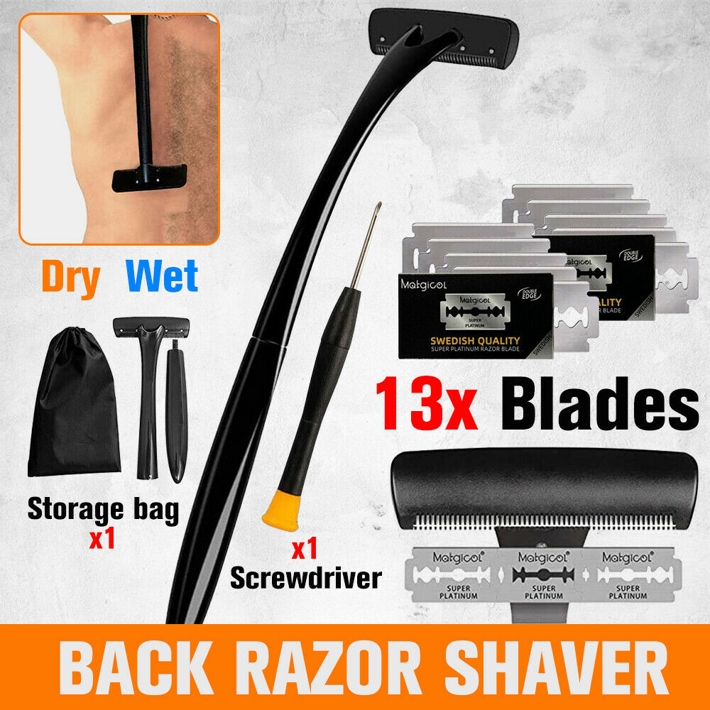 18in Back Hair Removal Body Shaver Ergonomic Handle Shave Wet/Dry w/ 13 Blades
