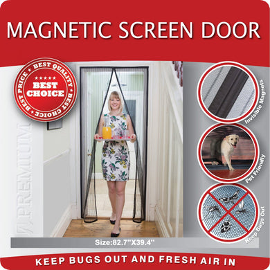 Magnetic Mosquito Screen Door - Heavy Duty Mesh & Velcro Fits Doors Up to 82.7''X39.4'' Hands Free Magnetic Magic Closer