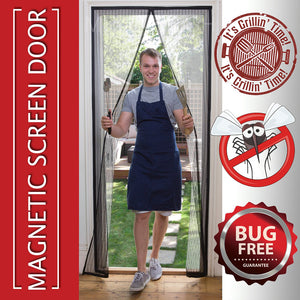 Magnetic Mosquito Screen Door - Heavy Duty Mesh & Velcro Fits Doors Up to 82.7 inchX39.4 inch Hands Free Magnetic Magic Closer