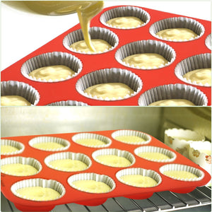12 Cup Cupcakes Muffin Baking Pan Silicone Mold Non-Stick BPA Free Flexible