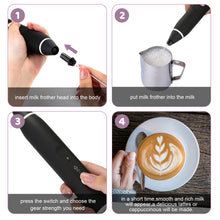 USB Electric Milk Coffee Frother Set 3 Speeds Foam Maker Blender 2 Whisks Heads