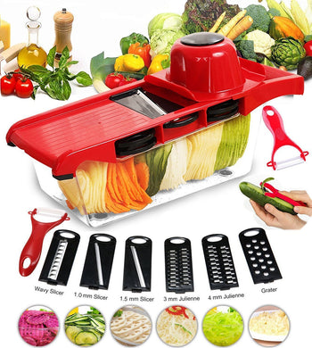 Pro Mandolin Slicer Food Cutter Fruit Vegetable Chopper Grater Peeler w/6 Blades
