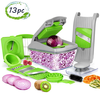 13pcs Vegetable Spiralizer Mandoline Slicer Dicer Food Chopper Shredder Cutter