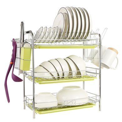 Free Standing 3 Tier Dish Drying Rack Drainer Kitchen Storage Board Cutlery Cup Shelf