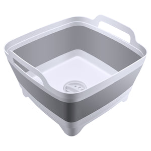Foldable Dish Tub Washing Basin Collapsible Draining Pan Strainer Food Basket